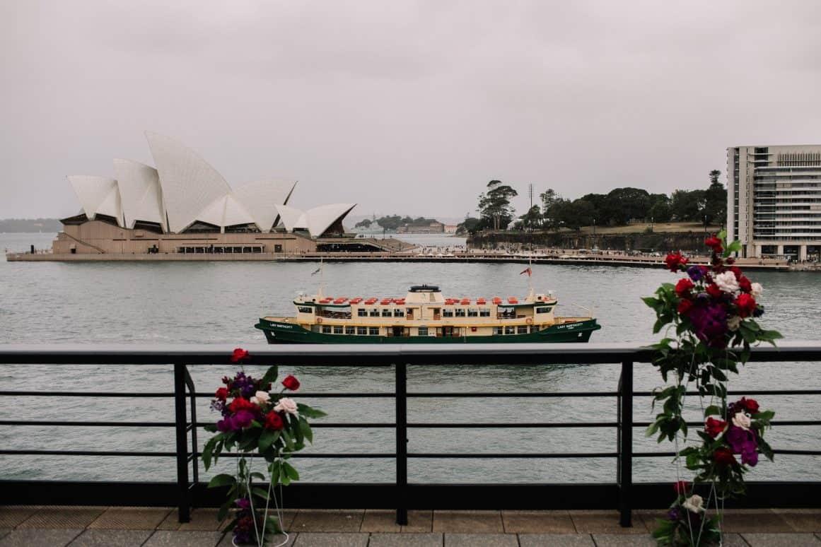 Steph and Sam Sydney Quay Wedding Flowers David Campbell Photography
