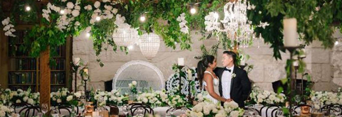 bendooley estate book barn wedding reception florist flowers hanging greenery sydney stylist
