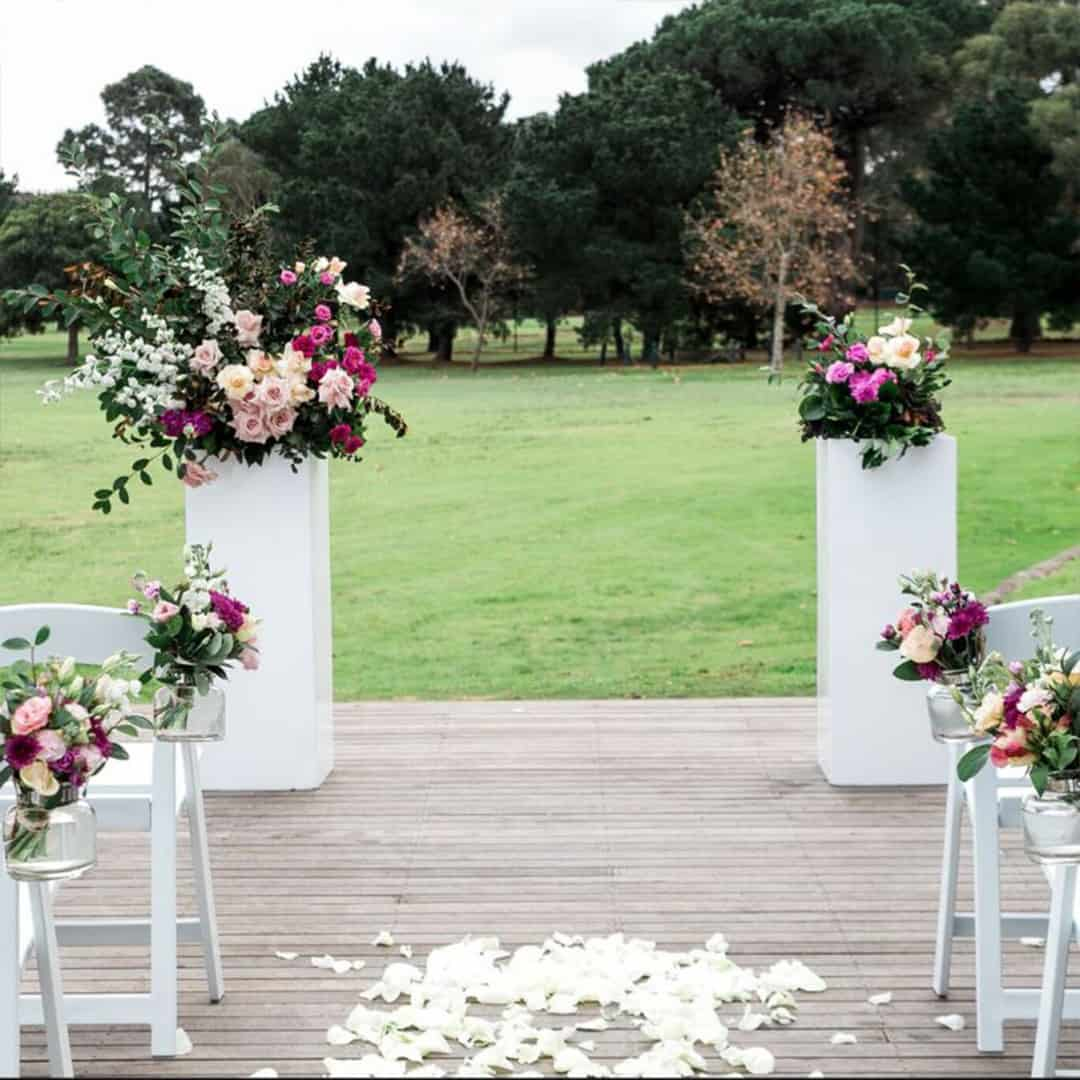 wedding ceremony hire sydney price packages arch arbour white plinth modern flowers