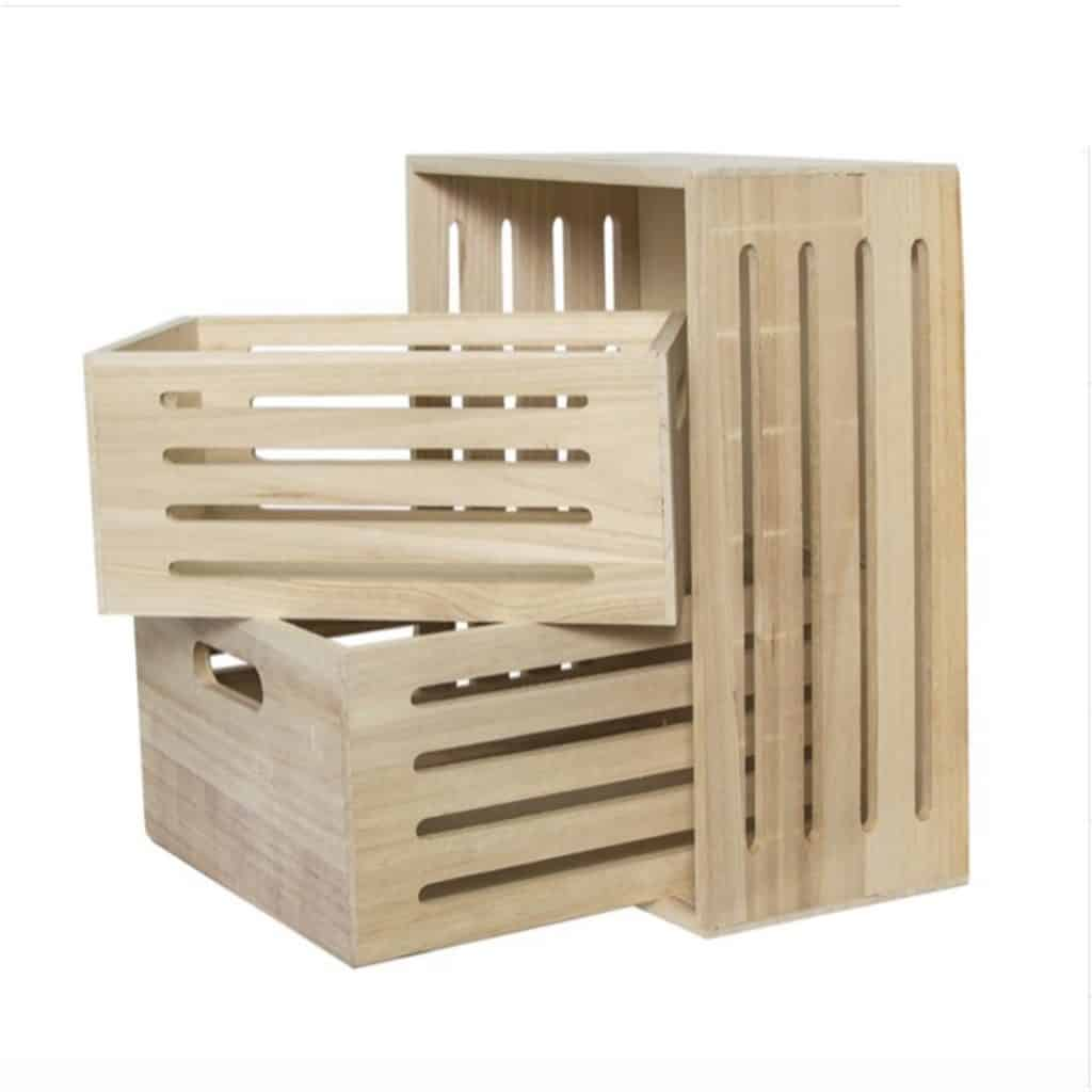 Wooden Crates - Set of 3, various sizes
