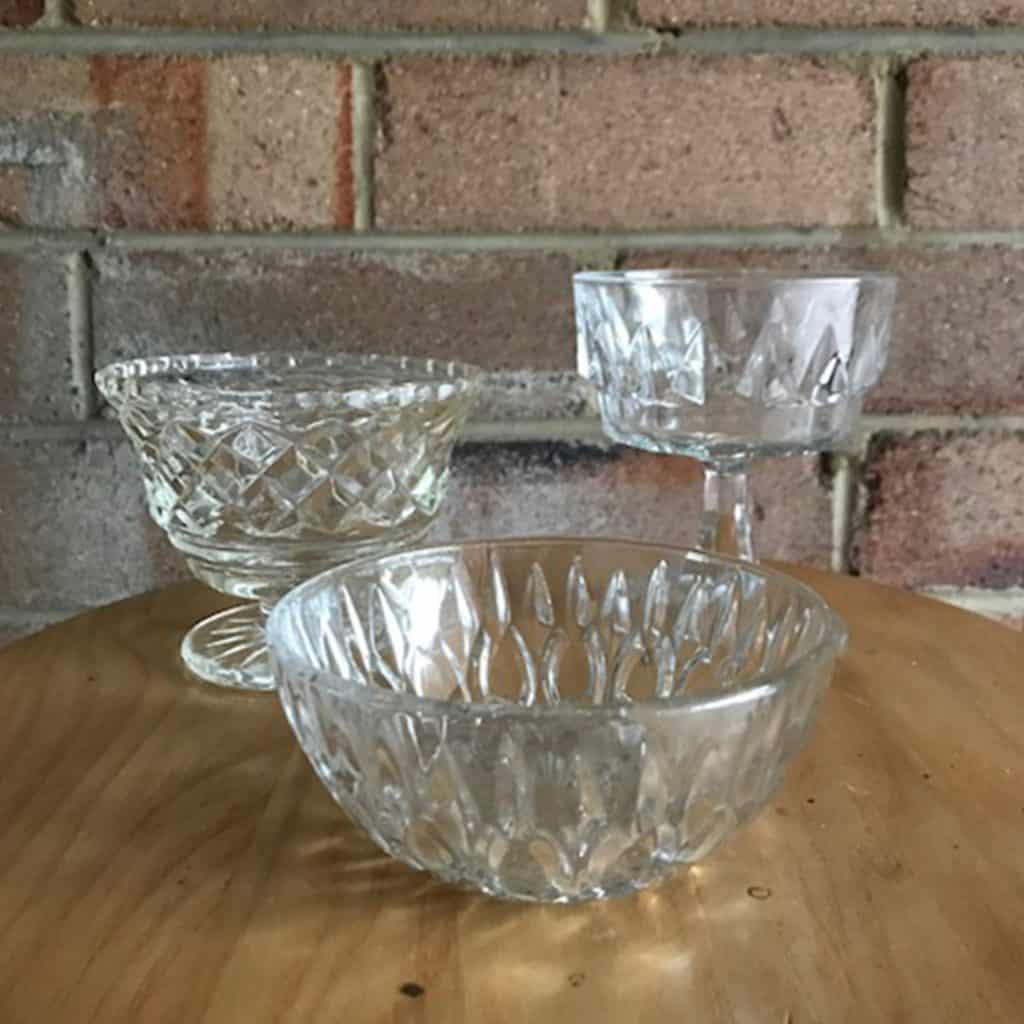 Vintage Cut Glass Mini bowls   Candle Holders (various sizes)
