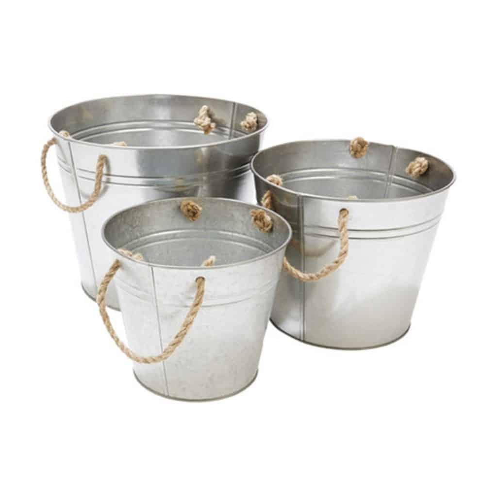 Tin Buckets - Set of 3, various sizes