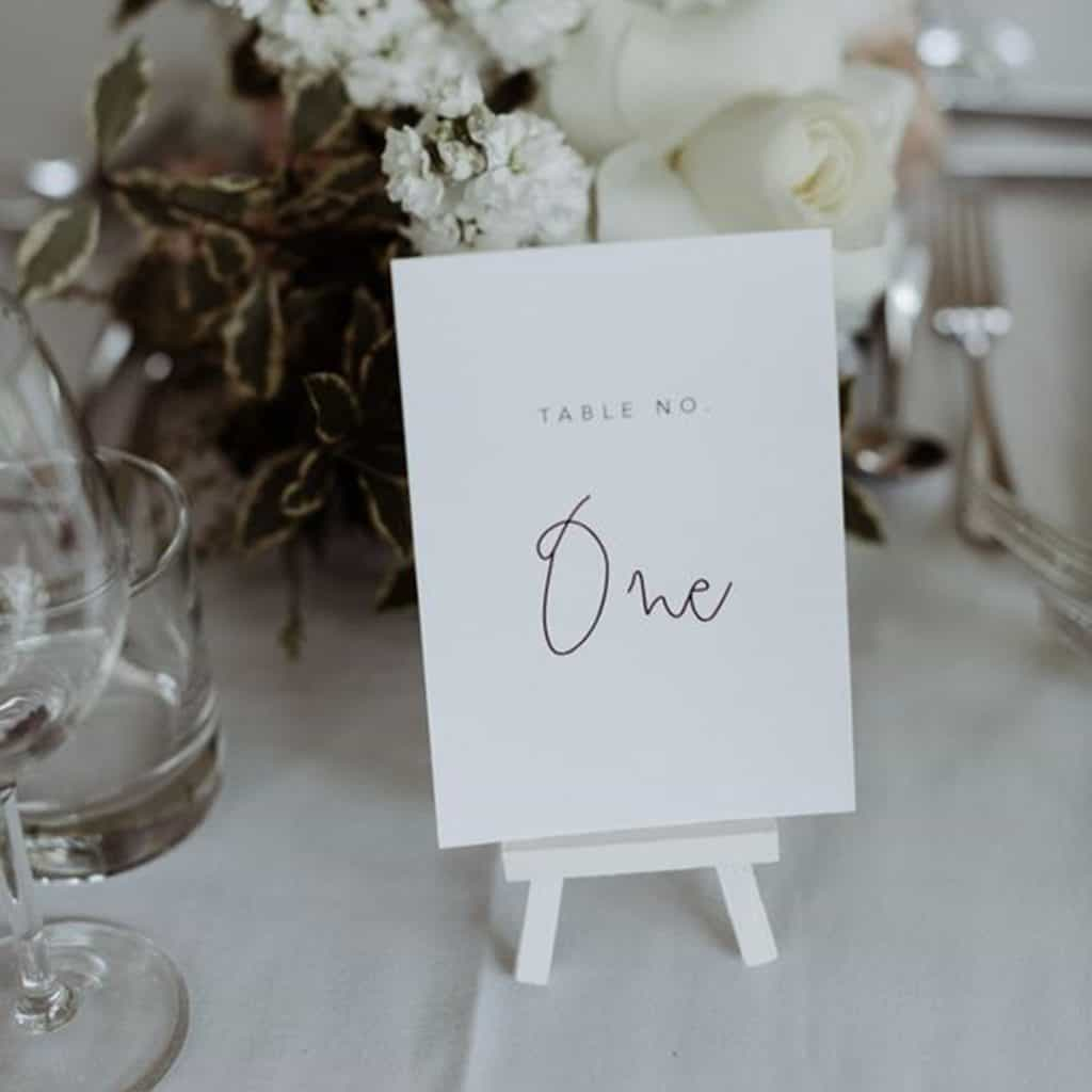 Table numbers on mini easels. Personalised to match you wedding stationary and style.