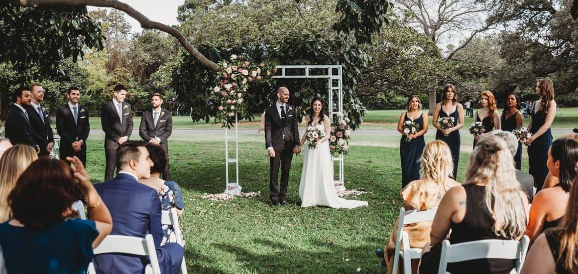 sydney modern wedding hire cermeony package botanic gardens rose white metal arch