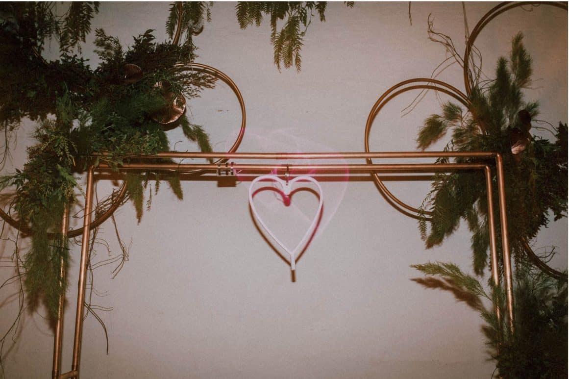 sydney-wedding-venue-warehouse-freedom-hub-copper-arch-neon-sign