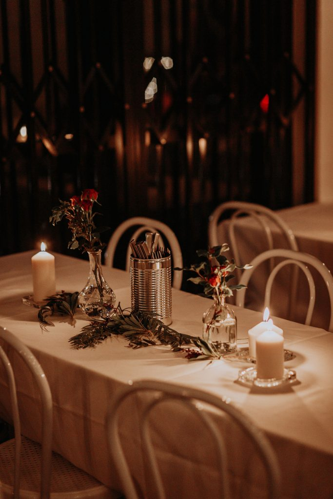 sydney-wedding-venue-warehouse-freedom-hub-styling-florist-rose-red-bud-vase-greenery-table