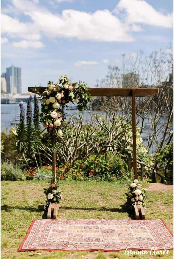 wedding-ceremony-hire-packages-lavender-bay-clark-park-sydney-arch-turkish-rug