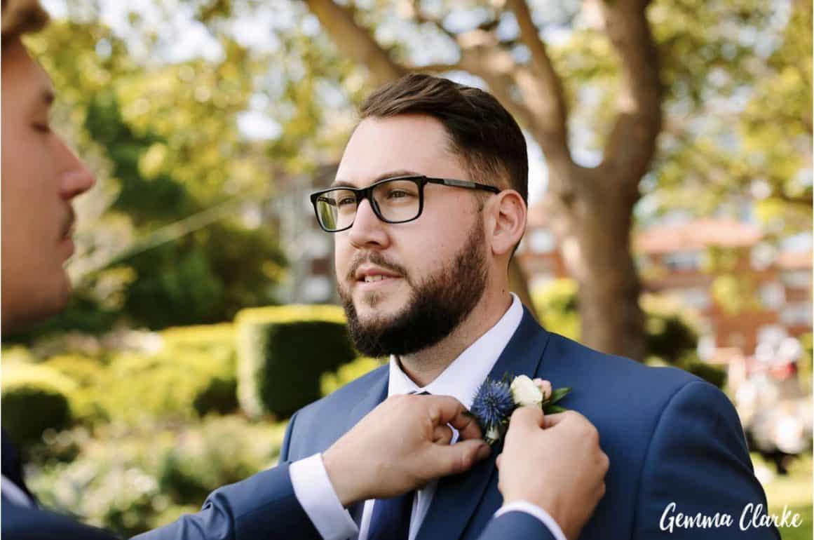 wedding-ceremony-hire-packages-lavender-bay-clark-park-sydney-groom-buttonhole