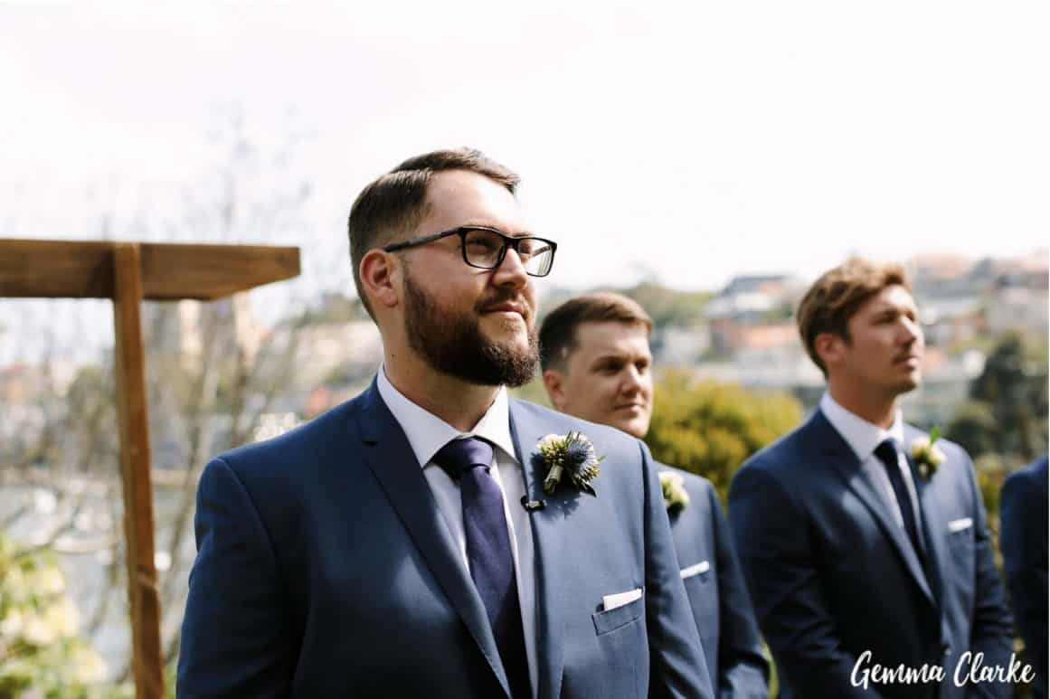 wedding-ceremony-hire-packages-lavender-bay-clark-park-sydney-grooms-watching-bride