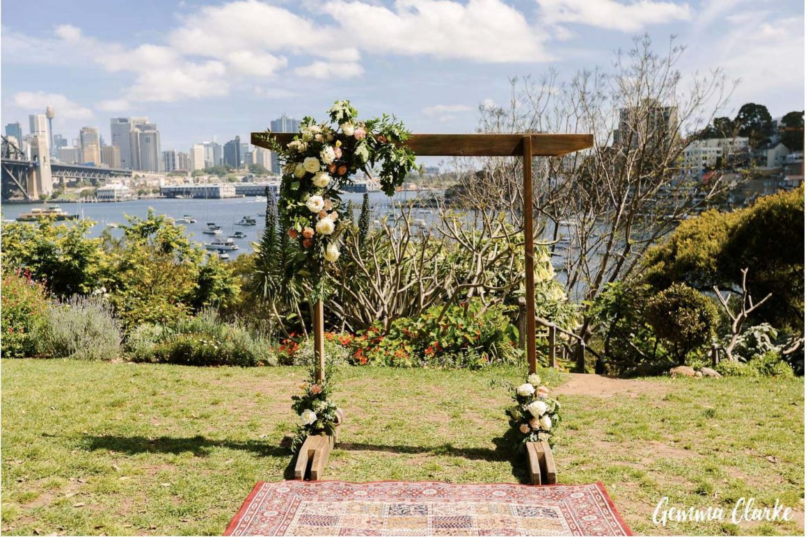 wedding-ceremony-hire-packages-lavender-bay-clark-park-sydney-turkish-rug-wooden-arbour
