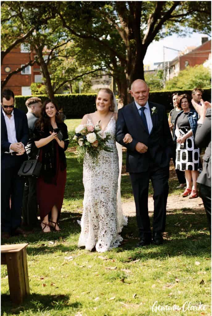 wedding-ceremony-hire-packages-lavender-bay-clark-park-sydney-walking-down-aisel