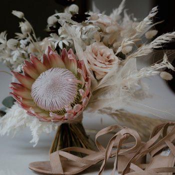 bouquet white protea king sydney florist