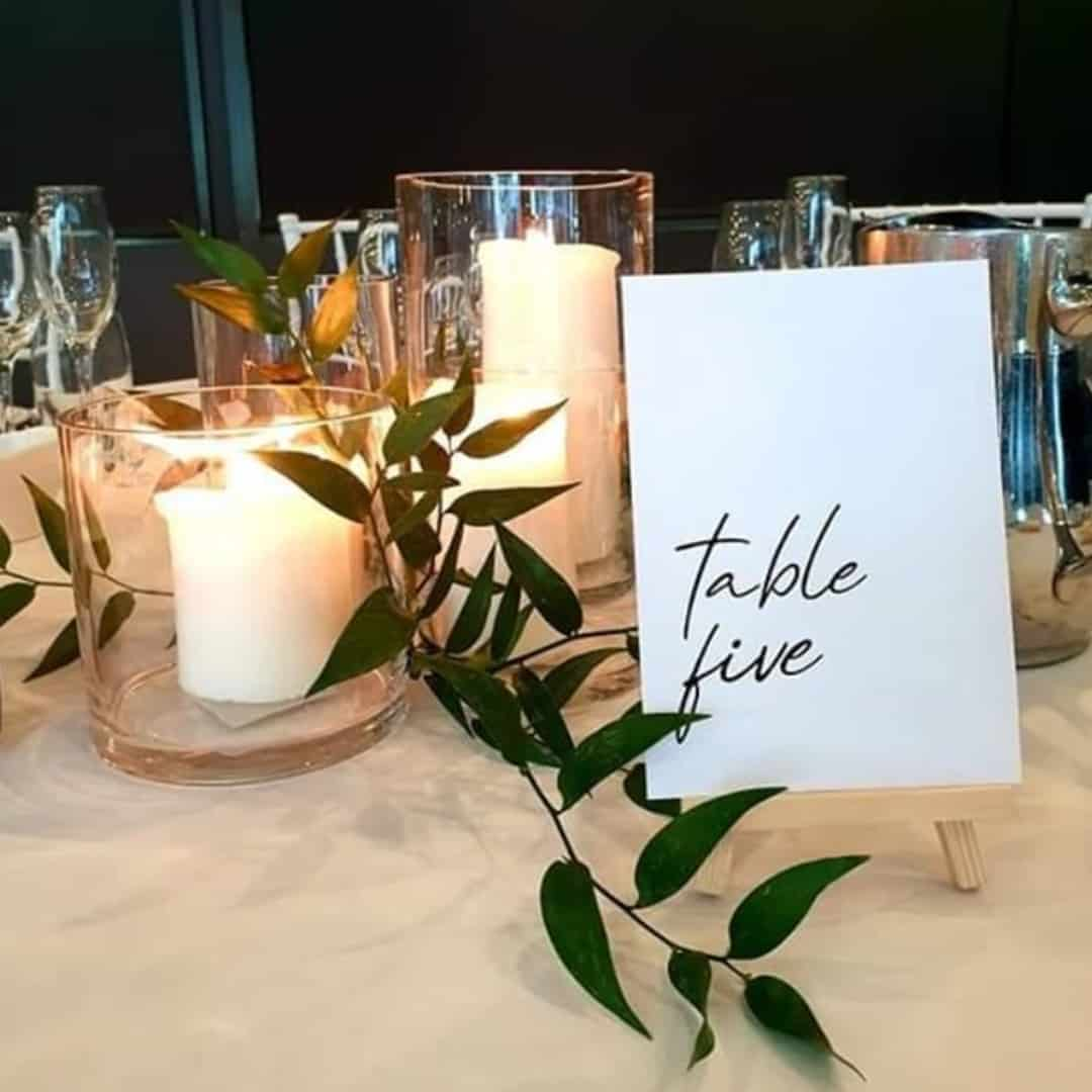 wedding flowers table numbers hire sydney
