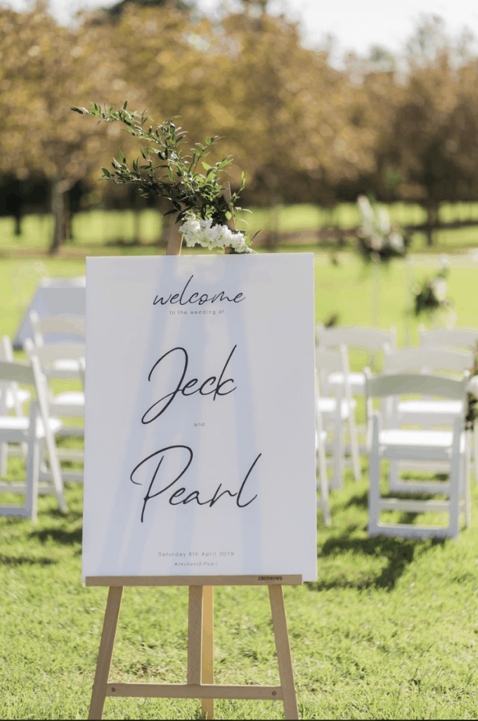 sydney wedding ceremony hire packages welcome board modern
