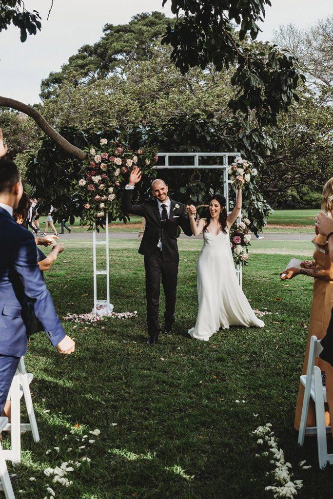 sydney wedding hire ceremony packages white metal arch industrial rose garden botanic gardens