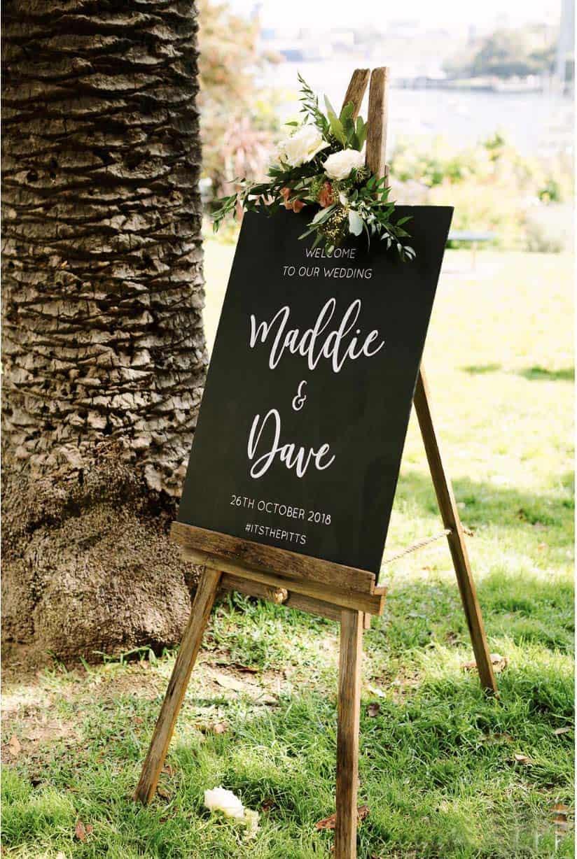 wedding ceremony hire packages lavender bay clark park sydney chalkboard