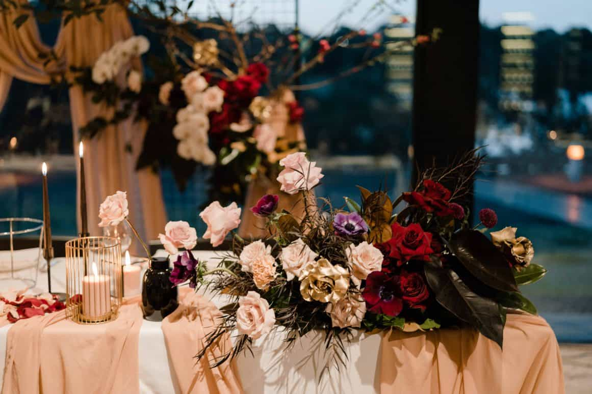 Oliveto-Ristorante-Bar-rhodes-wedding-styling-blush-chiffon-table-runner-hire-sydney
