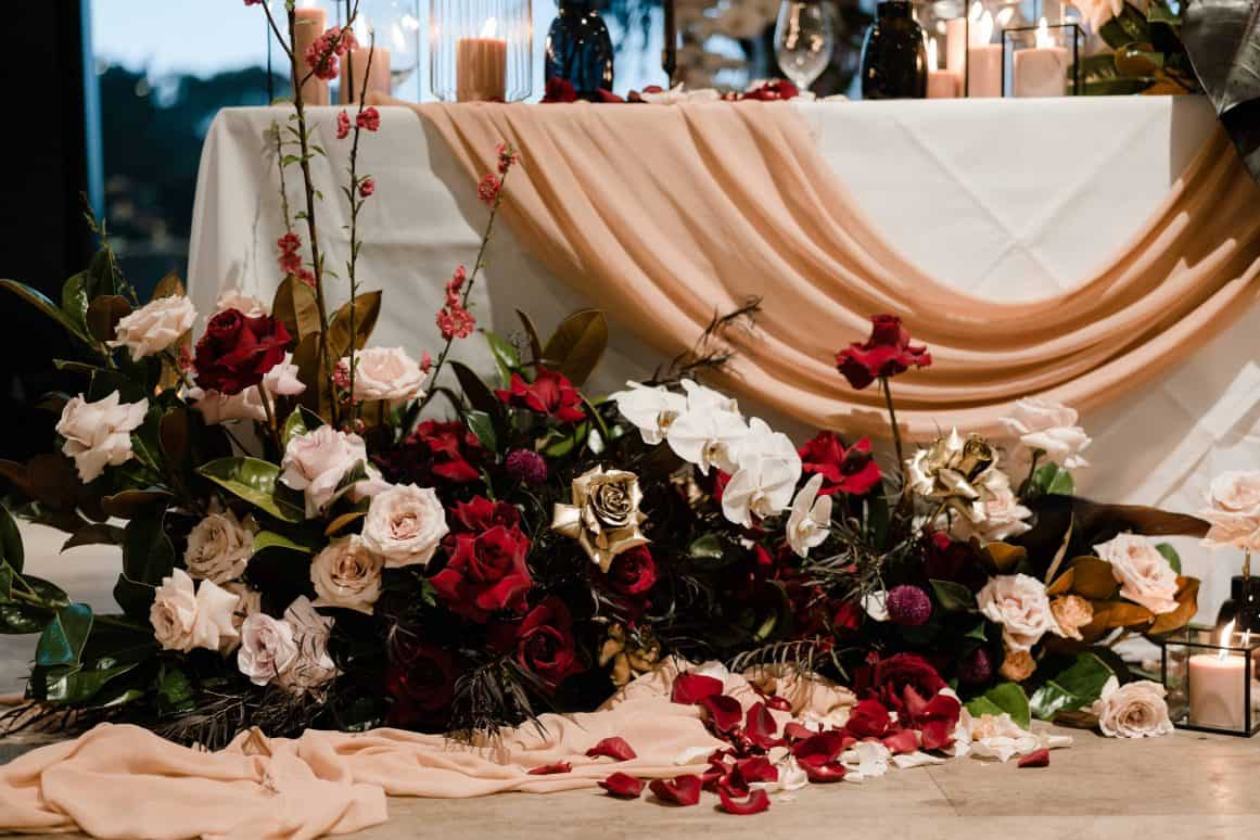 Oliveto-Ristorante-Bar-rhodes-wedding-styling-bridal-table-flowers-sydney-lush-rose-gold-black-red-blush-orchids