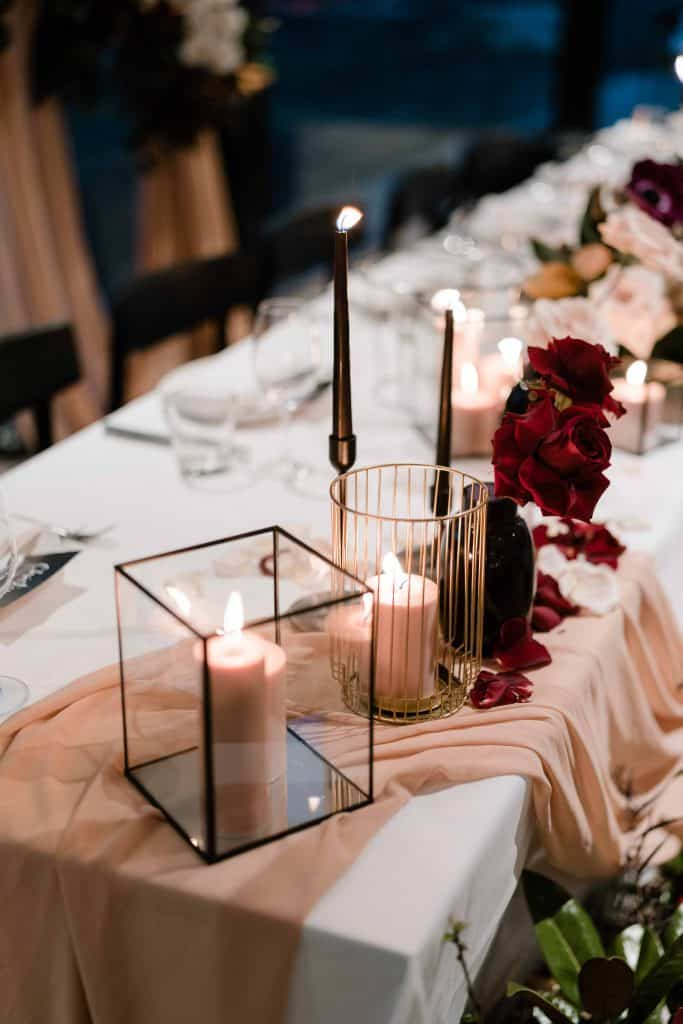Oliveto-Ristorante-Bar-rhodes-wedding-styling-candles-black-taper-tall-lantern-box-gold