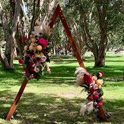 Two floral arrangements for arch
