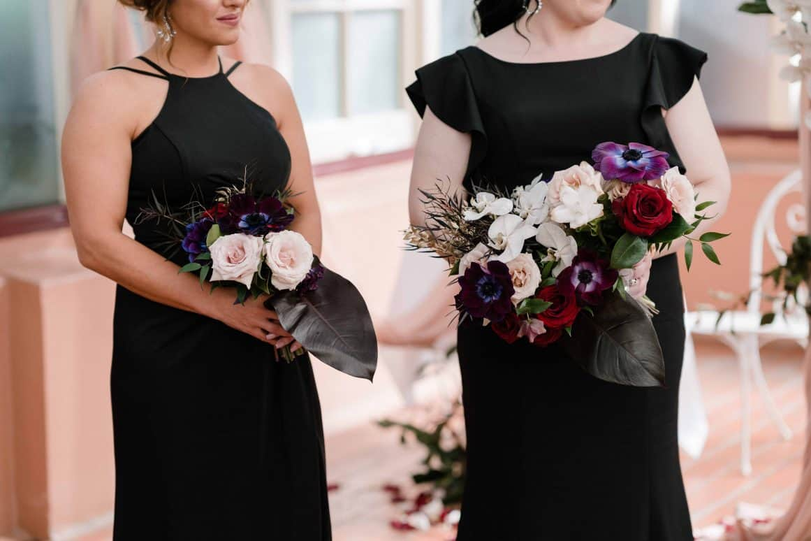 sydney-wedding-palm-house-botanic-gardens-ceremony-hire-black-bridesmaid-dress-flowers