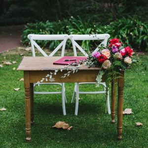 Rustic timber signing table