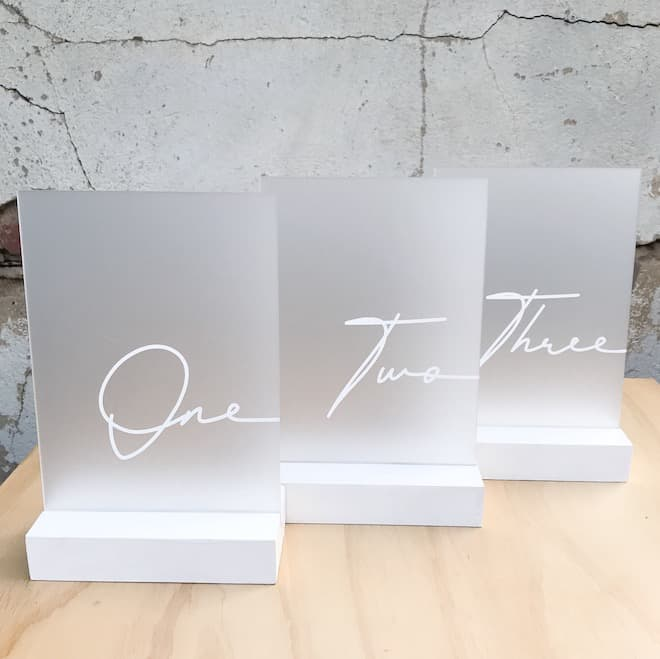 Rectangle frosted acrylic table numbers with white font - 14 available