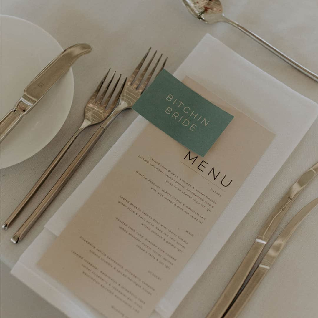Personalised printed menus and place cards, tailored to your wedding style and colour palette