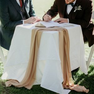 White Signing Table with linen
